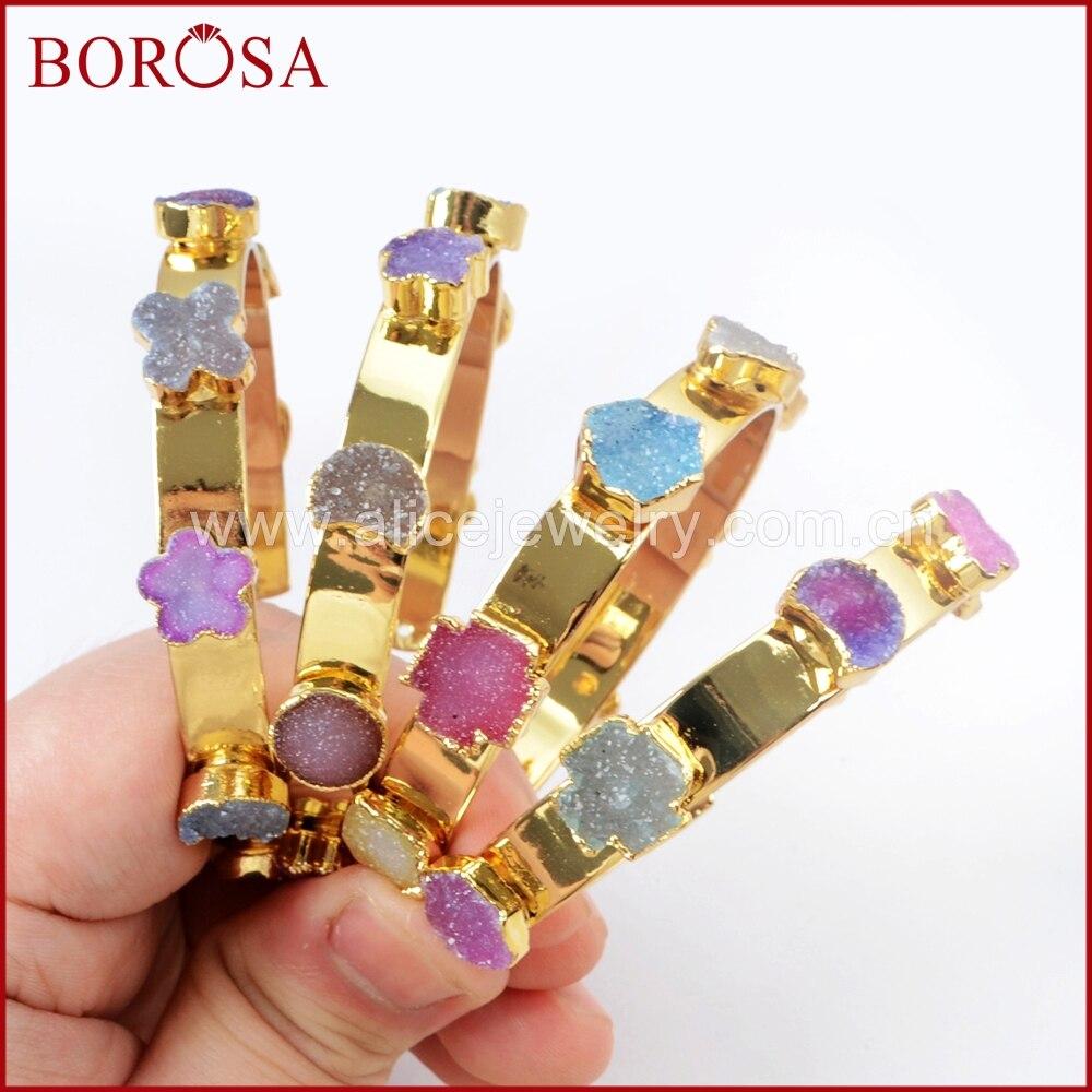 BOROSA 3 5PCS Stylish Gold Color Seven Rainbow Multi Shaped Druzy Bracelets Rainbow Drusy Bangles for