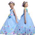 Princess Fair Girl Long Dress Summer 3-12 Years Floral Baby Girls Formal Dress Vestidos Blue Wedding Party kids Clothes