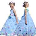Princesa Justo Longo Menina Vestido de Verão 3-12 Anos Meninas Do Bebê Floral Vestido Formal Vestidos De Casamento Azul Do Partido dos miúdos roupas