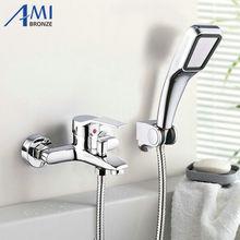 Ручным душем голову смеситель настенный ванна душ кран ванной с