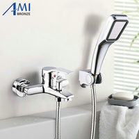 Wall Mounted Bathroom Faucet Bath Tub Mixer Tap With Hand Shower Head Shower Faucet