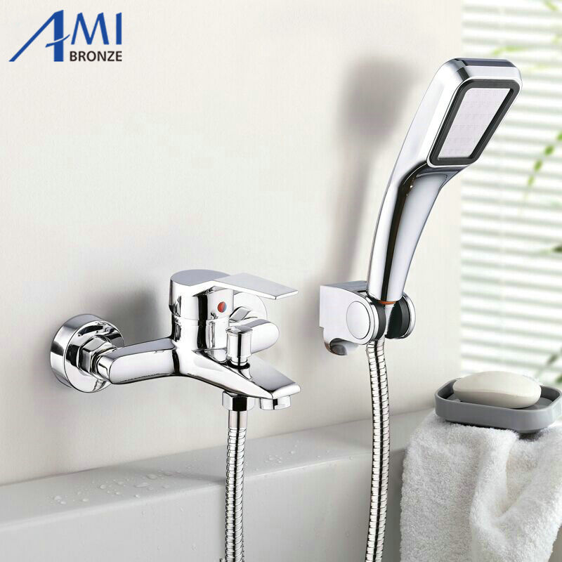 Wall Mounted Bathroom Faucet Bath Tub Mixer Tap With Hand Shower Head Shower Faucet antique red copper handheld shower head bath tub mixer tap wall mounted bathroom dual cross handles faucet wtf803