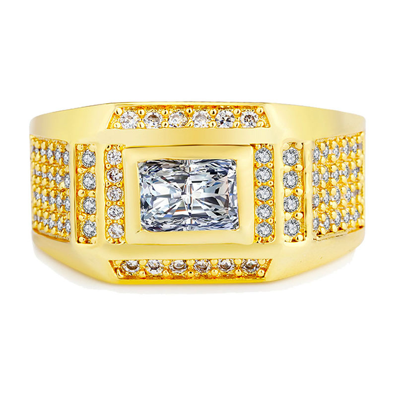 18K Gold Rings with White CZ Stone Fine Jewelry Engagement Wedding Ring for Mens & Women