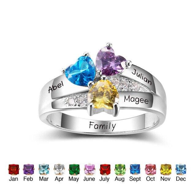 fe4608f7bb69 Personalizada apilable Anillos 925 plata esterlina forma de corazón tres  Piedras Anillos DIY amigos regalos de