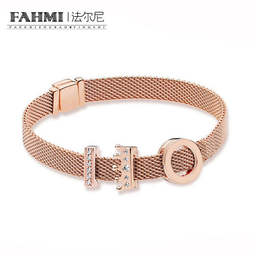 FAHMI 100% 925 Sterling Silver New Rose Reflexions Crown Clip Charm Timeless Clip Charm Floating Heart Clip Charm Bracelet Set