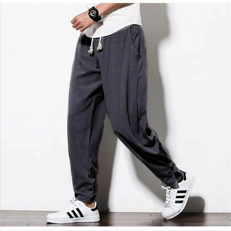 Casual Loose Solid Men's Harem Pants Chinese Traditional Harajuku Pants Men Cotton And Linen Slim Fit Trousers Plus Size M-6XL