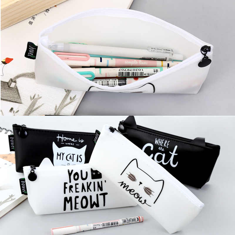 Cat Letters Pencil Case Silicon School Supplies Stationery Gift School Tools Fashion Student Pencil Box Pencil Case Pen Bag