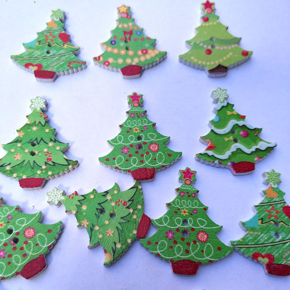 Us 224 10 Off50pcs Christmas Tree Shape Cartoon Button Painted Printing Buttons 2 Holes Wooden Button 2018 New Hot Sale In Buttons From Home