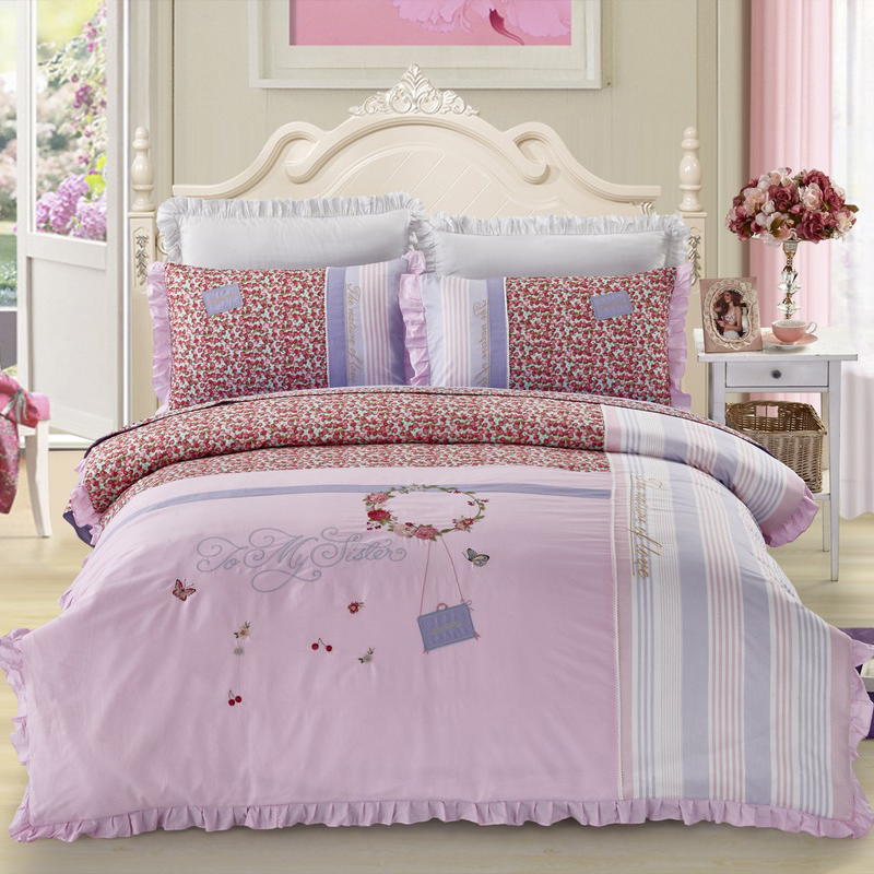 100% Cotton Sweet Romance Ruffles Bedding Set Embroidery Luxury Duvet cover Bed Sheet Pillowcases Queen King size 4pcs bedcloth100% Cotton Sweet Romance Ruffles Bedding Set Embroidery Luxury Duvet cover Bed Sheet Pillowcases Queen King size 4pcs bedcloth