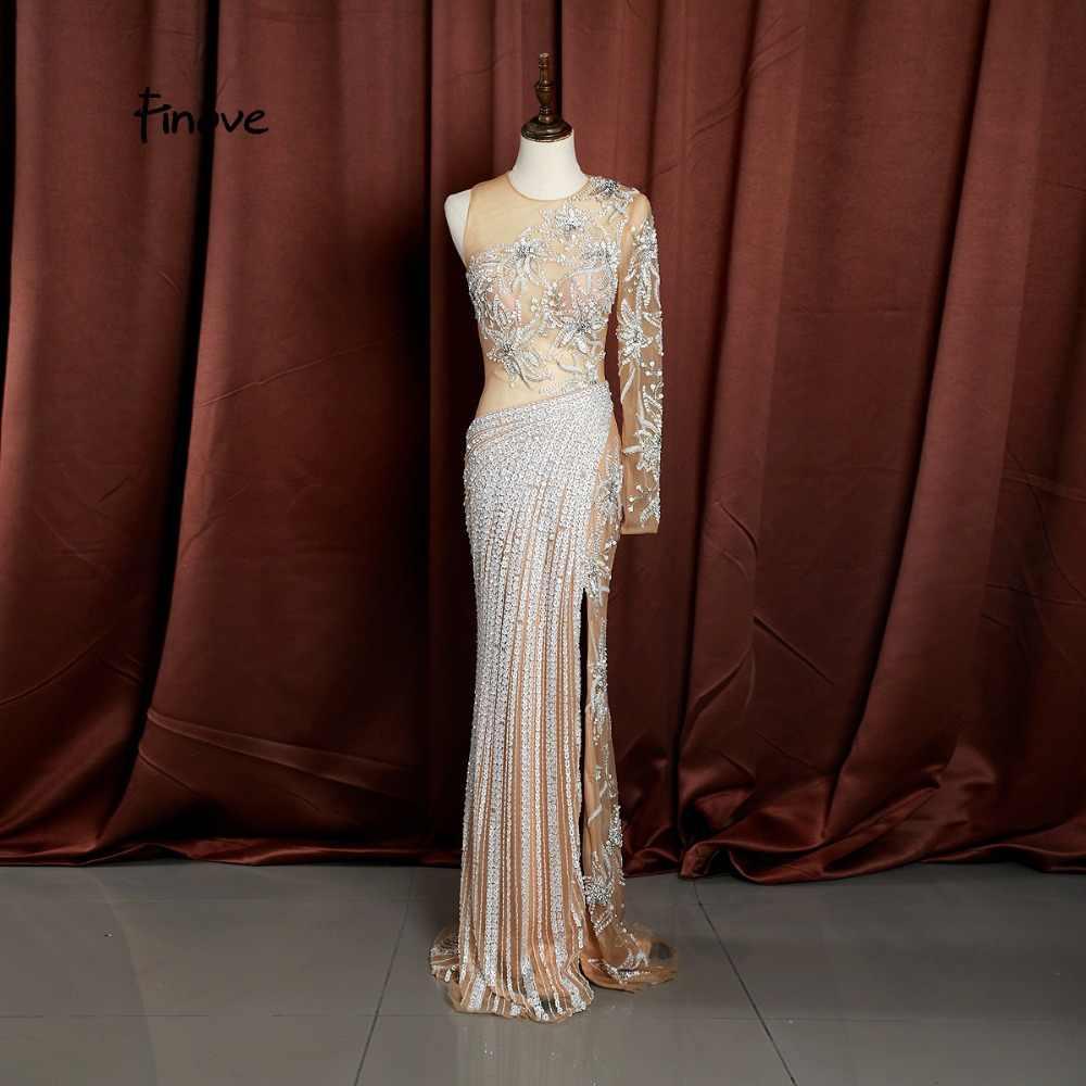 Finove Русалка платья 2019 вечернее платье Новый стиль o-образным вырезом Полный Бисероплетение сексуальное платье в пол платье на выпускной платье