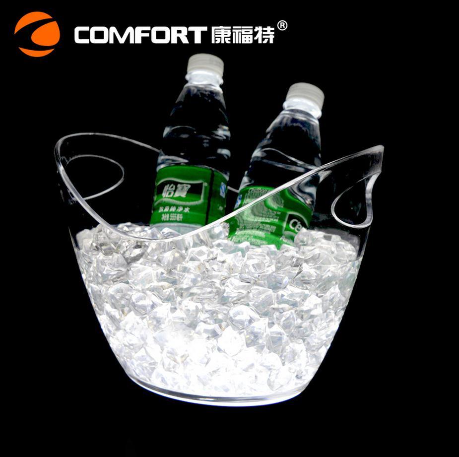 Seau à glace lumineux Transparent 4L seau à glace LED en plastique étanche