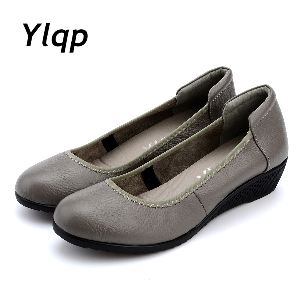 2017 New Fashion Women Handmade Shoes Plus Size Genuine Leather Flat Shoes Wedges Ladies Flats Mom Working Shoes sapato feminino 2016 new fashion camellia women genuine full grain leather flat heel single shoes ladies working leather flowers ballet flats