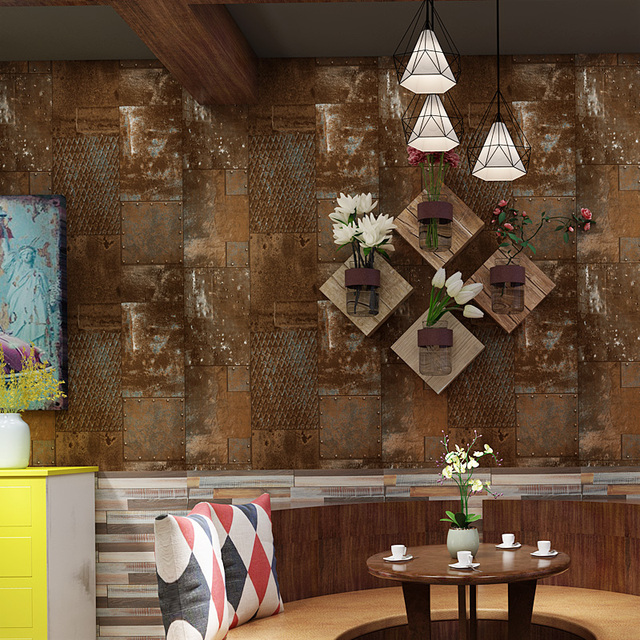 Tapeten Vintage Iron Sheet Wall Papers Home Decor Loft Style Rust