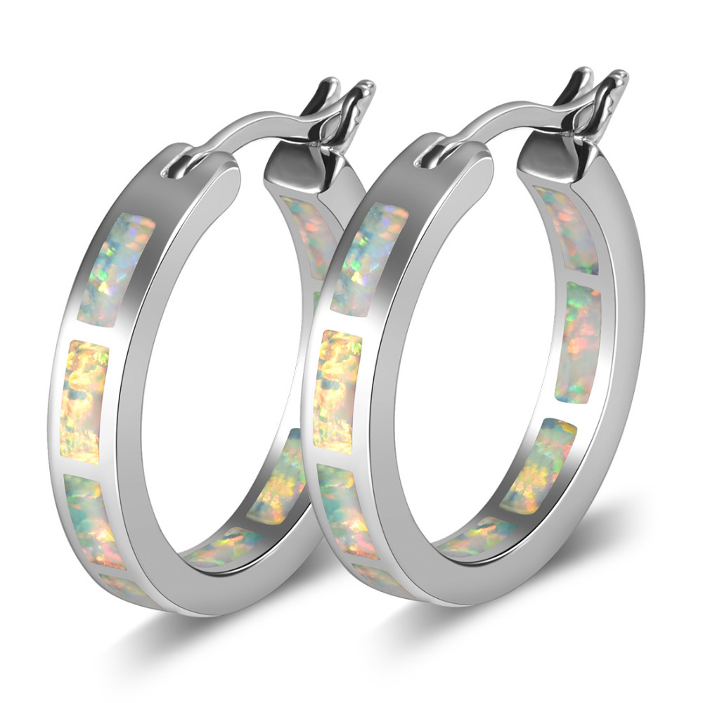 White Fire Opal 925 Sterling Silver Fashion Earrings