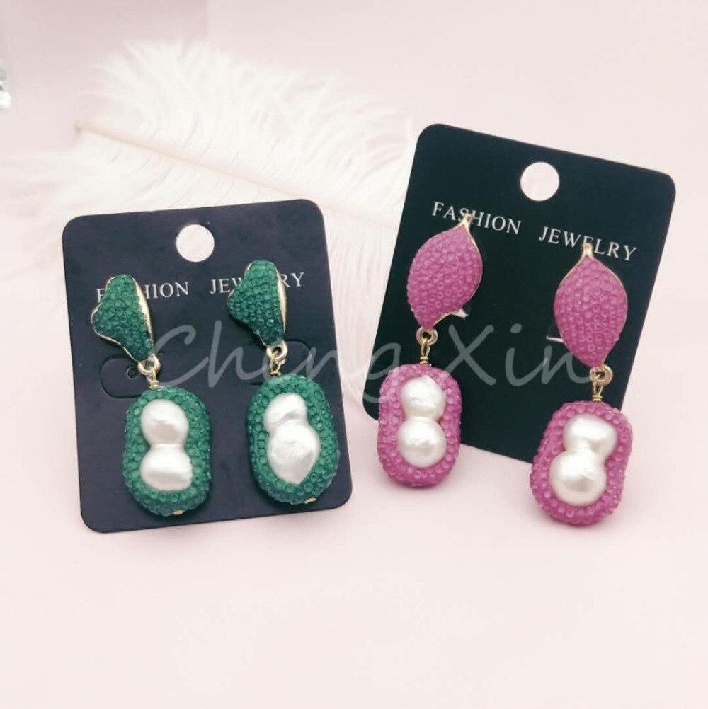 Dois brilhantes brincos acessórios de moda 2019 acessórios de strass brincos da orelha das mulheres