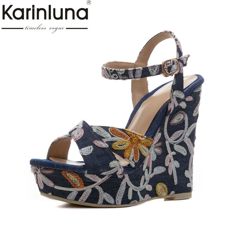 KarinLuna 2018 denim upper platform embroidery brand shoes woman flowers wedges high heels date summer shoes sandals women retro embroidery women wedges sandals summer style platform shoes woman casual thick high heels creepers slippers plus size 9