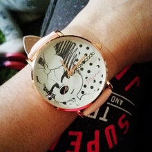 Hot Recommended: Cartoon Minnie Mouse Watch Childrens Womens Kids Student girls Quartz Leather WristWatch Clock Gift