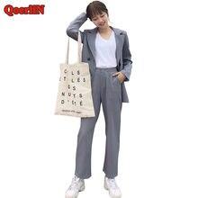 751e39c0a496 QoerliN señoras dos piezas Oficina de Trabajo rayas Blazer Pantalones mujer  2018 nuevo doble sola capa pantalón largo Formal tra.