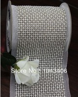 DHL Free Rhinestone Mesh 24rows Shoes Trimming SS18 Pearl Crystal Beads Aluminum Base 5 Yards Lot