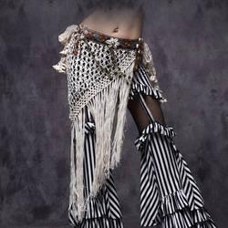 2016 Профессиональный танец живота Племенной поясной ремень регулируется золотая цепочка Монеты Пояс для Цыганский танец кисточкой