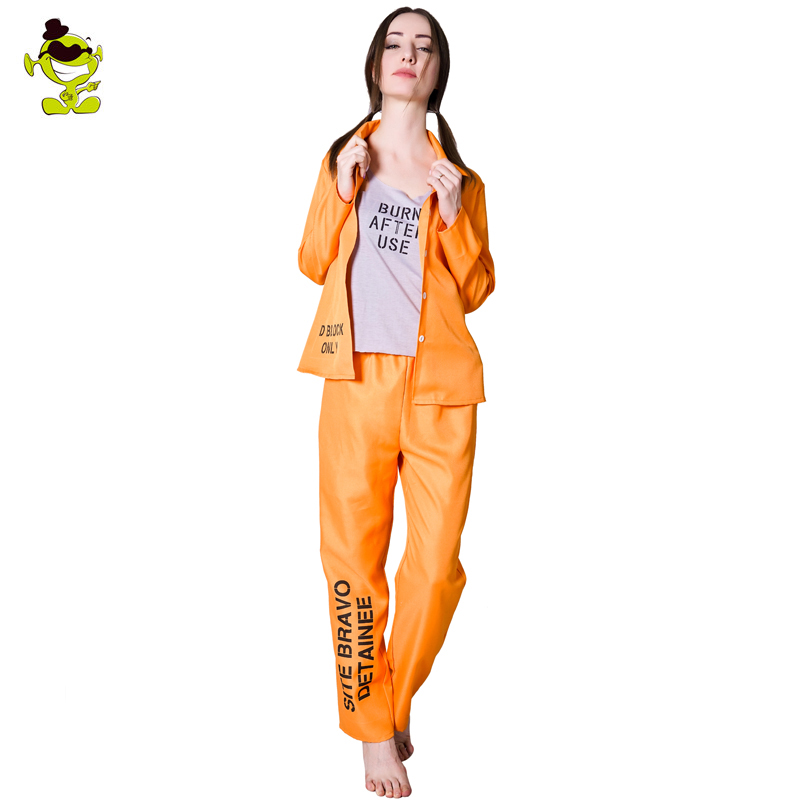 Women s Prison Criminal Costume Prisoner Halloween Cosplay for Adults Fancy Dress Outfits Costumes