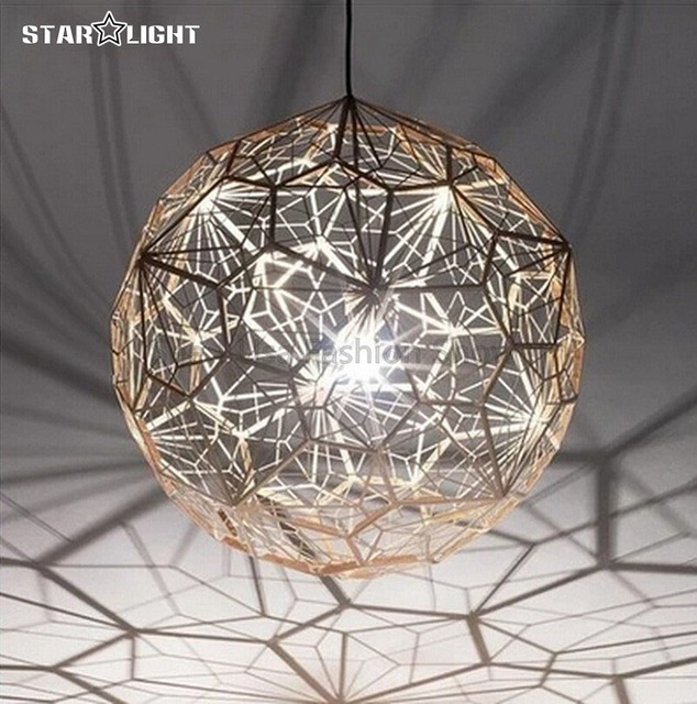 Etch Web Pendant Lights Modern Metal Stainless Steel Lamps Abstract Spherical Lampshade Hanging Light
