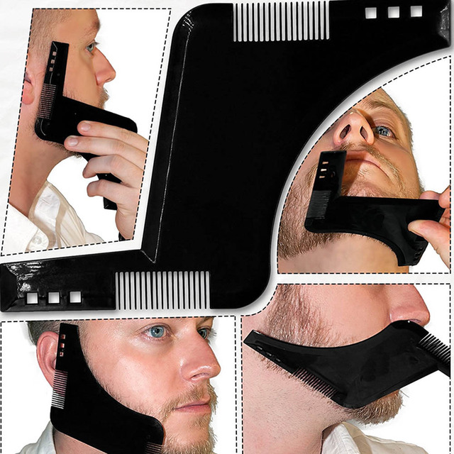 New Double-side Beard Shaping Styling Template Beard Comb Men Shaving Tools ABS Comb for Hair Beard Trim Template Combs