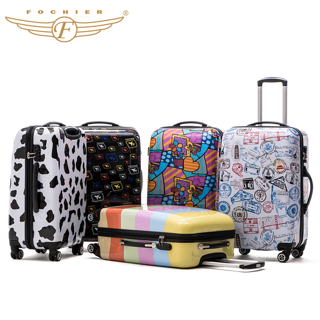 2016 Fochier Women Men Luggage Printed ABS PC Hard Shell Trolley Fashion Luggage Suitcase Travel Case 24 Inches 5 color New