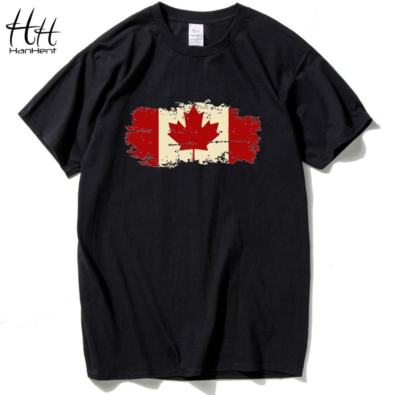 HanHent Bandera de Canadá 2018 Camiseta de moda Camiseta de manga corta de algodón Hoja de arce canadiense O-cuello Verano Streetwear Logo Camisetas