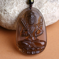 A Zodiac ox tiger patron saint of natal Buddha Bodhisattva and icy void Tibet Obsidian Pendant Jewelry