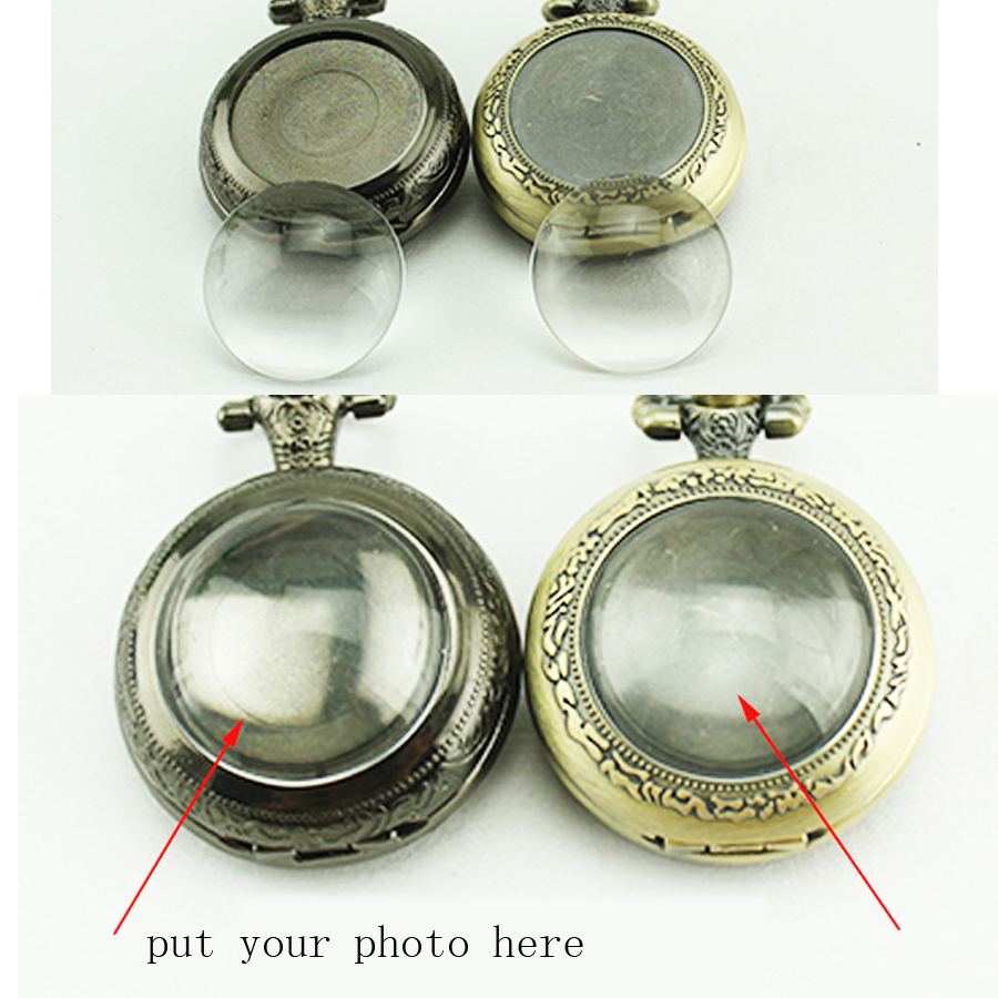 10 pcs / lot BRICOLAGE main faisant Antique Bronze montres de poche FOB montres hommes femmes cadeau poche avec chaîne de haute qualité en gros