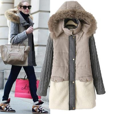 AS44 вниз куртка женщин 2016 женщин С Капюшоном вязание рукава зимнее пальто женщин теплая верхняя одежда толстый хлопчатобумажный Пиджак пальто