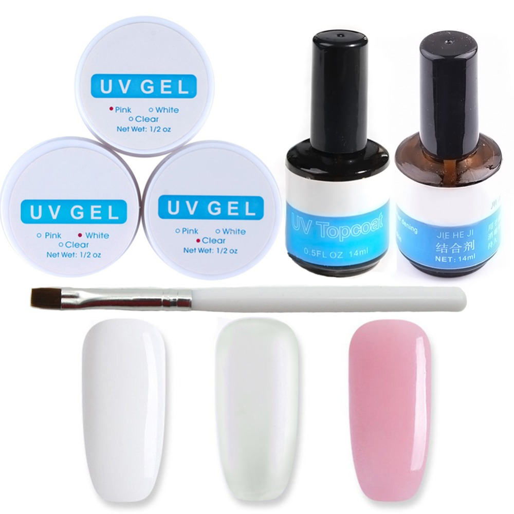 Set For Manicure Gel Nail Manicure Set Acrylic Nail Kit Nail Extension Set 3 Color UV Gels Acrylic Powder