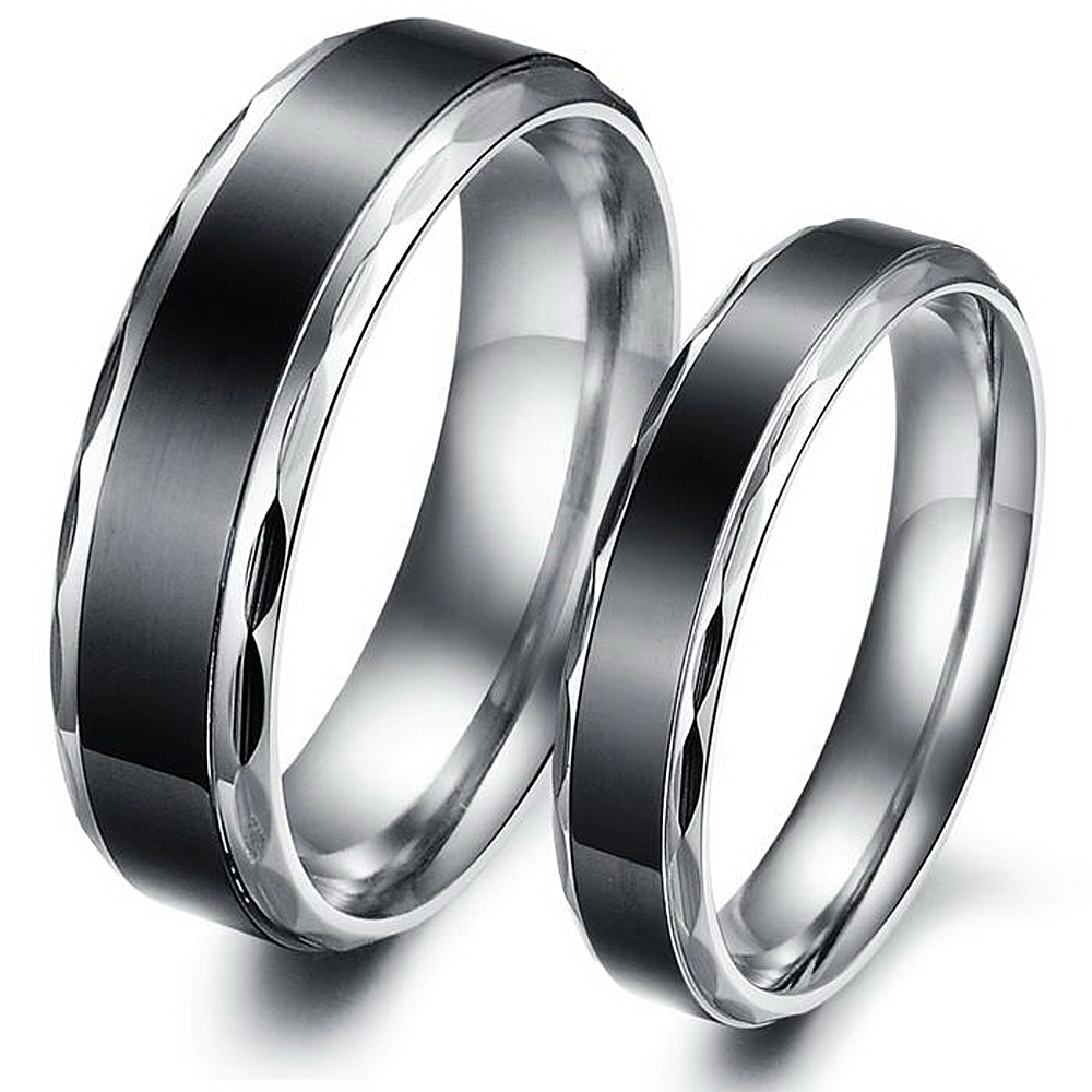 Stainless Steel Jewelry His and Hers Anniversary Couple Ring Unique     Stainless Steel Jewelry His and Hers Anniversary Couple Ring Unique Black Engagement  Rings Set For Lovers in Engagement Rings from Jewelry   Accessories on
