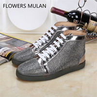 Hanbaidi High Top Crystals Lace up Casual Shoes Men Sneaker Flats Chaussures Rhinestone Strass Leather Men Shoes For Super Stars