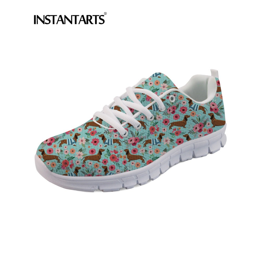 INSTANTARTS Dachshudn Dog Sneakers Shoes Women's Casual Lace Up Flats Shoes Cute Pet Dog Print Woman Air Mesh Sneakers Zapatilla