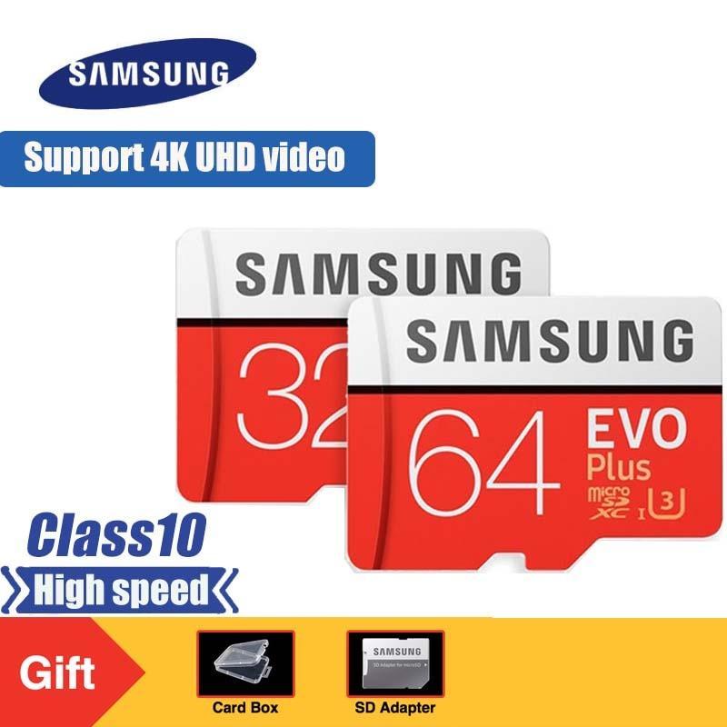 Карта памяти SAMSUNG EVO Plus Micro SD 32 Гб 64 Гб 128 ГБ 256 ГБ SDHC/SDXC U3 C10 UHS I 4K карта HD TF для смартфона, планшета и т. Д.-in Карты памяти from Компьютер и офис
