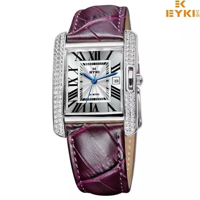 Top Luxury Brand EYKI Ladies Fashion Quartz Waterproof Wristwatch With Genuine Leather Strap