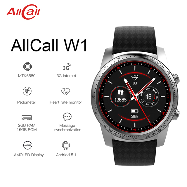 """Smart Watch AllCall W1 2GB RAM 16GB ROM 1.39"""" AMOLED screen Heart Rate GPS 3G/2G Watch Phone MTK6580m Android 5.1 MP4 WiFi"""