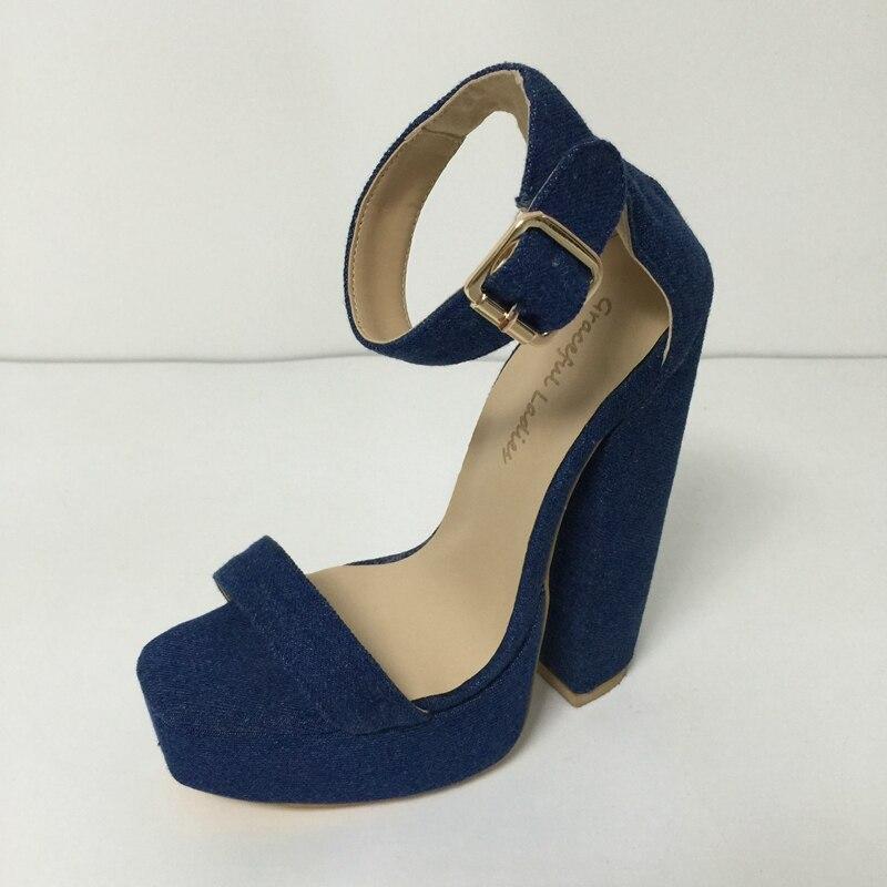 Здесь можно купить  Blue Denim Ankle Strap Women Sandals Chunky Heels Size 4 Heels Open Toe Dress Shoes For Women Online Customized Colors  Обувь