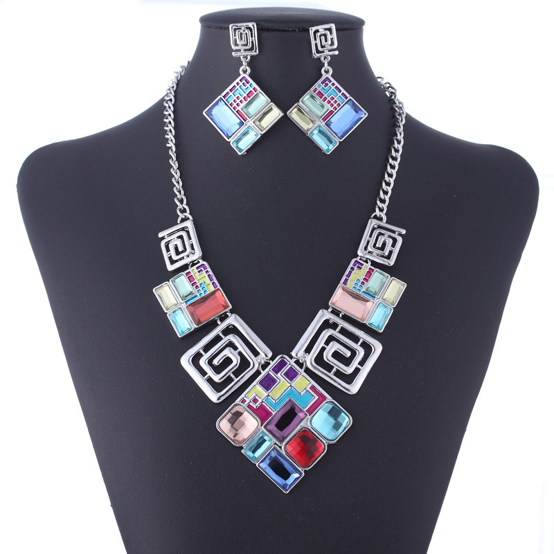 TZ1335 Silver Plated Rhinestone Multicolour square Pendant Necklace font b Earrings b font Vintage Jewelry Sets
