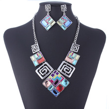 TZ1335 Silver Plated Rhinestone Multicolour square Pendant Necklace Earrings Vintage Jewelry Sets for women Gifts drop shipping