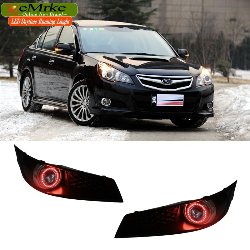 eeMrke LED Angel Eye DRL For Subaru Legacy Halogen Fog Light H11 55W Daytime Running Lights eemrke led daytime running lights for mitsubishi grandis cob angel eye drl halogen h11 55w fog light