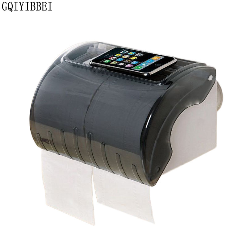 GQIYIBBEI Durable Bathroom Vacuum Sucker Plastic Waterproof Toilet Paper Holder Tissue Holder Roll Paper Box Can Put Cell Phone