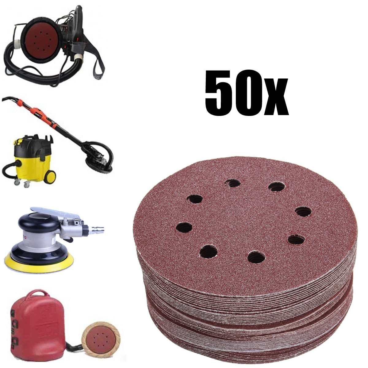 50pcs Sanding Disc 80 Grit 120 180 240 320 Grit Sandpaper 5'' 8 Hole Hook Loop Mixed Pad Abrasives Tool Polishing Discs