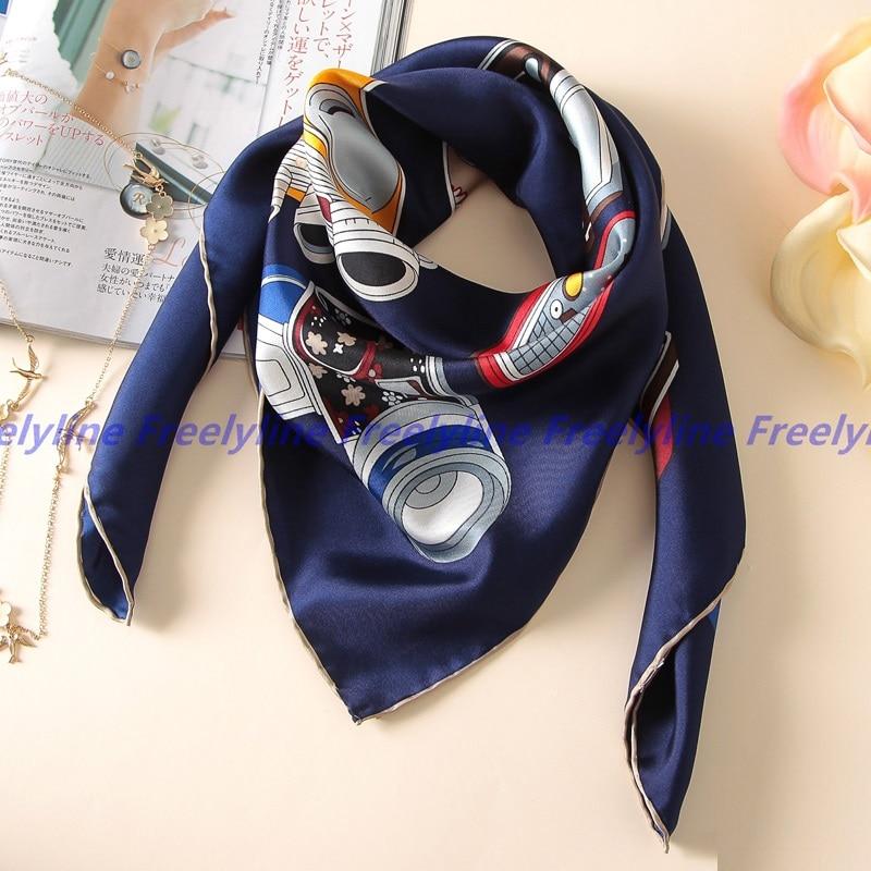 100% Silk Twill   Scarf   Bandana Hijab Foulard Square Silk   Scarf   Women Ladies Printed Silk   Scarves   &   Wraps   Shawl Hand Rolled Edge
