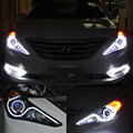 Car Styling DRL Set LED Barra de Luzes Projetor Len Farol Head Lamp anjo Olho ligue luz Para 2011 2012 2013 2014 Hyundai Sonata