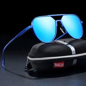 Image 2 - نظارات شمسية من الألومنيوم كبيرة الحجم من BARCUR نظارات شمسية مستقطبة للرجال نظارات شمسية للرجال مضادة للانعكاس مع صندوق هدية