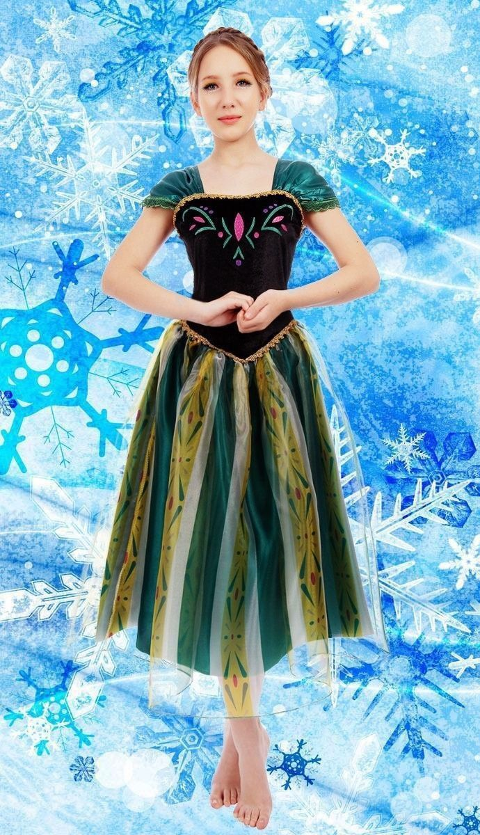 Elsa&Anna Birthday Fashion Ice Snow Queen Party Costume Cosplay Dress Adult Girls Lady Cinderella Snow White Princess