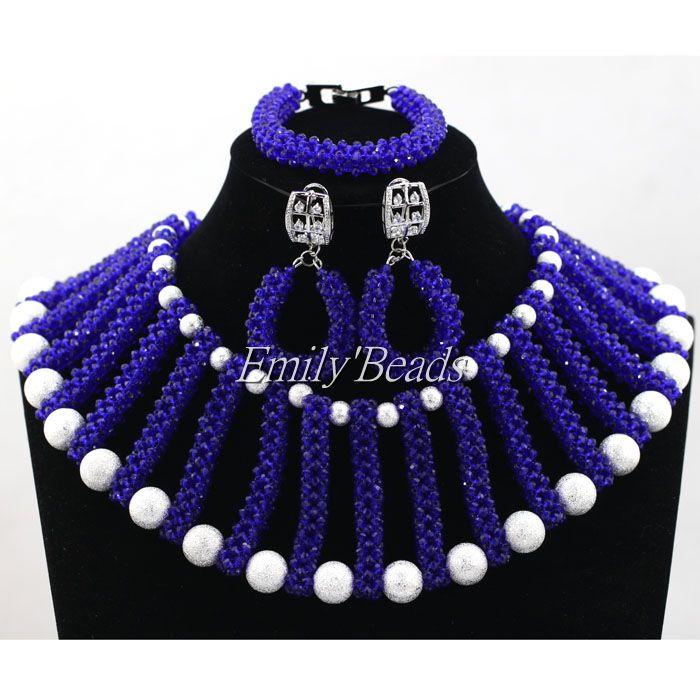 Glamorous Royal Blue Crystal Beads Jewelry Set Nigerian Wedding Costume African Beads Bridal Jewelry Set Free Shipping ALJ404